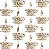 Backround pattern with cofe cups