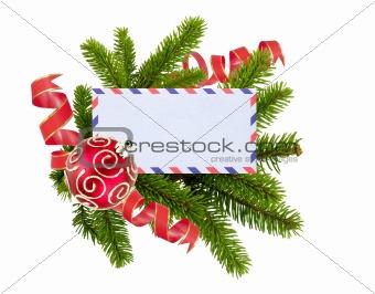 blank postcard, Christmas balls and fir-tree isolated on white b