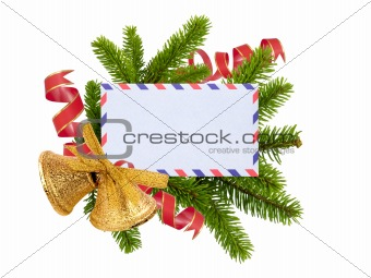 Christmas card, bells and fir-tree isolated on white background