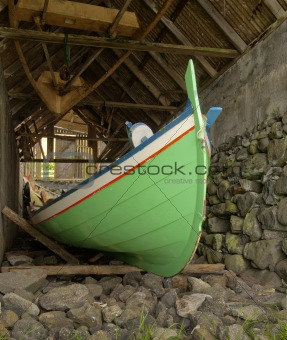 Traditional Faroese fishing boat made €‹of wood