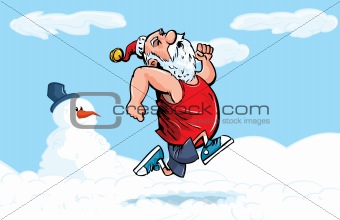 Cartoon Santa running for exercise in the snow