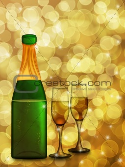 Champagne Bottle and Two Glass Flutes