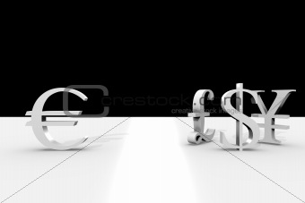 3d currency symbols on stylish black and white background