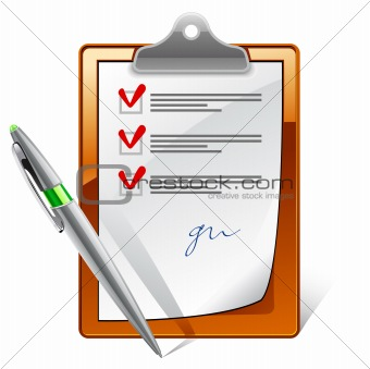 Clipboard with check boxes and pen