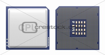 Computer processor isolated on white