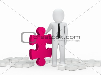 business man hold a puzzle pink