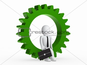 Businesman sitting in green gear