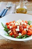 Greek Mediterranean salad with feta cheese, olive oil and tomato