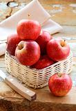red ripe organic apples in the basket
