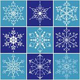 Christmas snowflake icon set