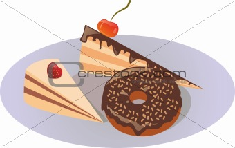 Two cakes and a donut on a plate