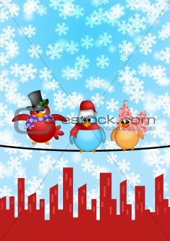 Three Birds on a Wire with City Skyline Christmas Scene