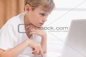 Young boy using a notebook