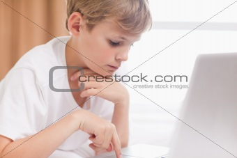 Young boy using a laptop