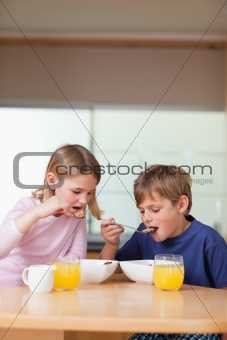 Portrait of children having breakfast