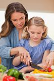 Portrait of a woman slicing pepper with her daughter