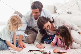 Beautiful family drawing together