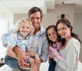 Charming family posing together