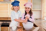 Siblings baking together