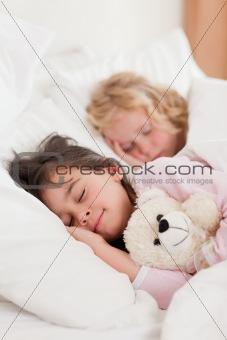 Portrait of siblings sleeping