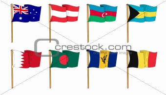 Hand-drawn Flags of the World - letter A and B
