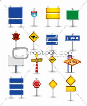 set of road sign