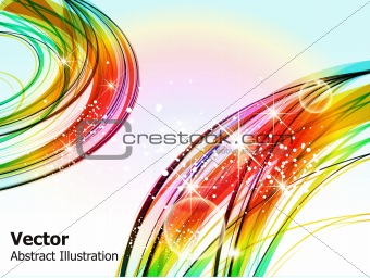 abstract wave background with sparkle