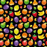 Fruit to black background. Seamless pattern