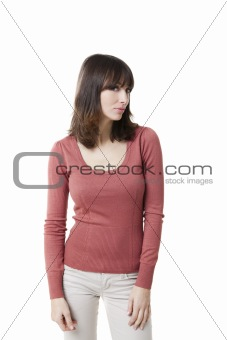 Beautiful woman looking at the camera, isolated on white