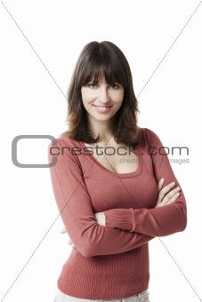 Beautiful woman smiling at the camera, isolated on white