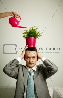 Man with plant
