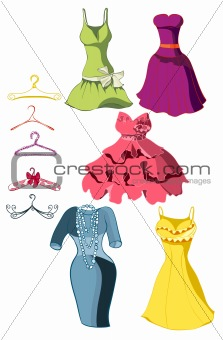 Set of bright dresses and coat racks