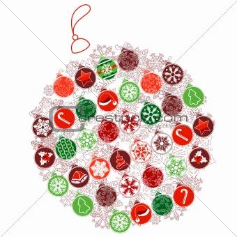 Christmas ball made of small ones