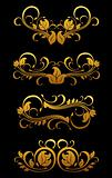 Golden vintage floral elements
