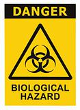 Biohazard symbol sign of biological threat alert black yellow triangle signage text isolated
