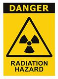 Radiation hazard symbol sign of radhaz threat alert icon, black yellow triangle signage text isolated