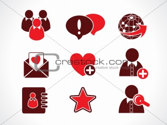 abstract red based communication web icon