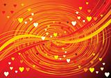 abstract orange wave background with hearts 
