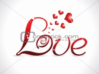 abstract red love text design