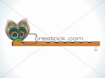 abstract wood flute with feather