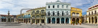 Panorama of Old Havana plaza Vieja, Cuba