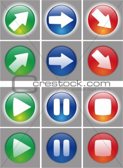 Arrows and player button Icon set.
