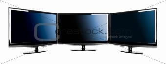 Three lcd TV's