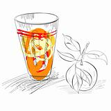 Glass of fresh mandarin juice