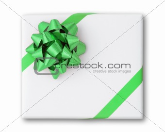 Green star and Cross line ribbon on White paper box
