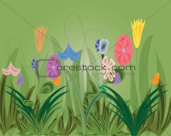 Background with flowers and herb