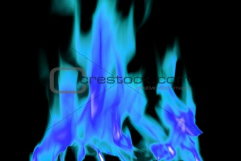 blue and white open fire flames