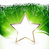Golden Christmas star on green background