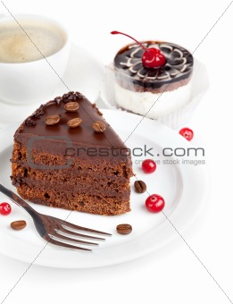 chocolate cake with coffee