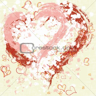 Abstract grunge hearts background painted